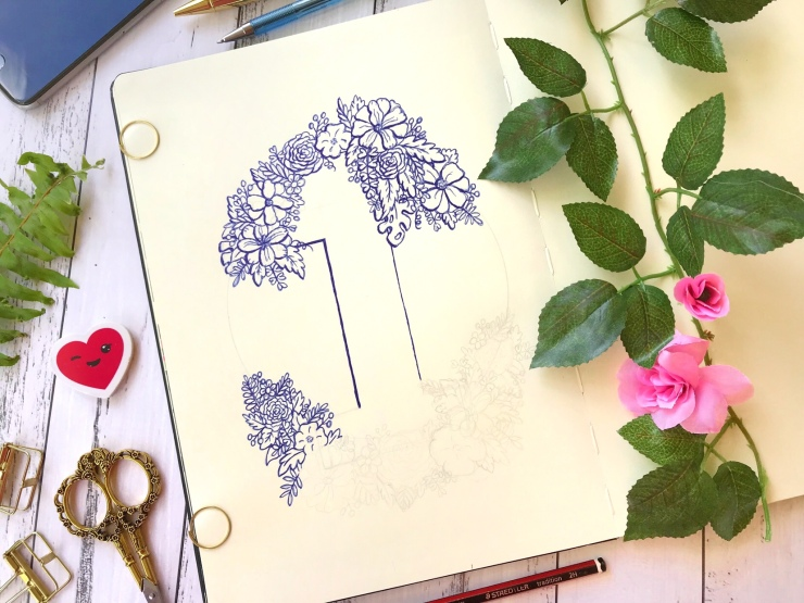 Work in Progress - Number 1 floral ink