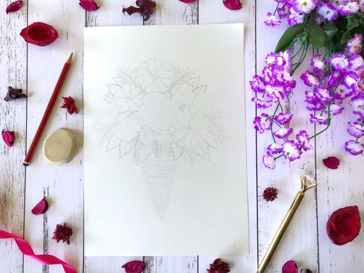 Sketch Floral Ice-cream Bouquet