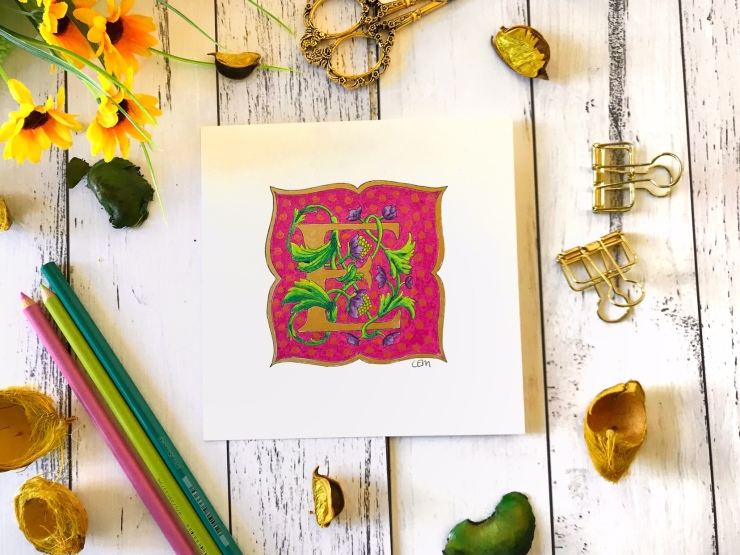 Illuminated lettering coloured pencil ink gold