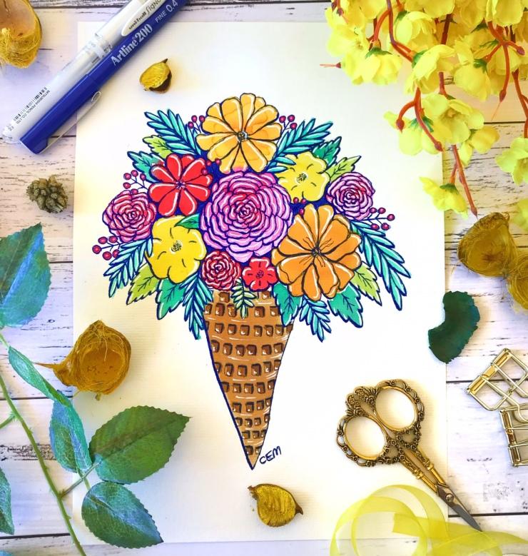 Watercolour Ink Florals Art Bouquet