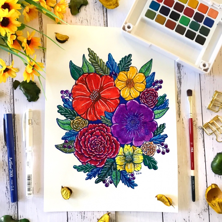 Watercolour Ink Floral